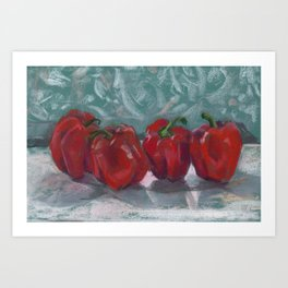Red Bell Peppers, Paprika Pepper, Vegetable Food Art Art Print