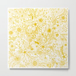 Yellow Floral Doodles Metal Print