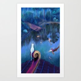 White cat and koi fish Art Print