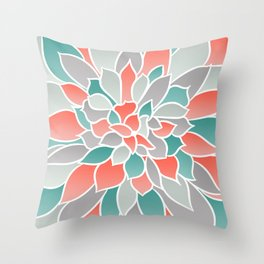 Floral Prints, Coral, Teal and Gray, Art for Walls Throw Pillow