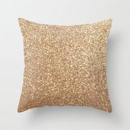 Copper Rose Gold Metallic Glitter Throw Pillow