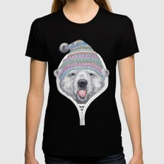 The Bear in a hood MEDIUM Black Womens Fitted Tee