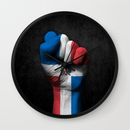 Dominican Flag on a Raised Clenched Fist Wall Clock