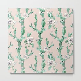 Green Coral Pink Cactus Rose Pattern Metal Print