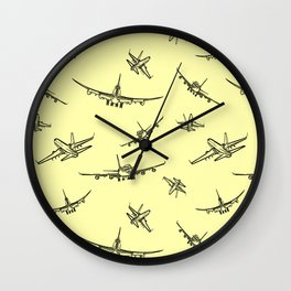 Airplanes on Yellow Wall Clock