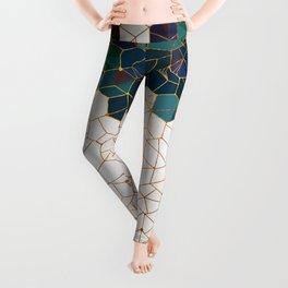 Teal and Cream Organic Hexagons Leggings