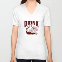 drink V-neck T-shirts featuring DRINK by stephenwilliamschudlich