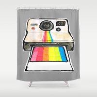 polaroid Shower Curtains featuring Polaroid by daniel davidson