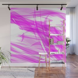 Pink and smooth sparkling lines of crimson ribbons on the theme of space and abstraction. Wall Mural