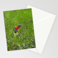 Grunge Rainbow Lorikeets in a tree Stationery Cards
