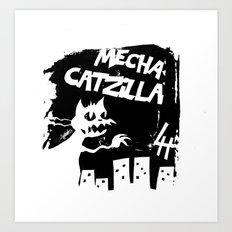 Mecha Catzilla Zero Art Print