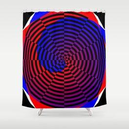 Red & Blue Spiral Shower Curtain