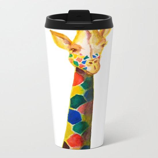 Giraffe Watercolor Print Metal Travel Mug