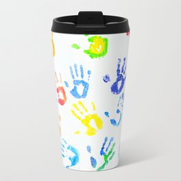 Rainbow Joyful Arm Prints Travel Mug