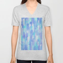 Abstract Layered Brush Texture Cold Shade Blue Cyan Unisex V-Neck