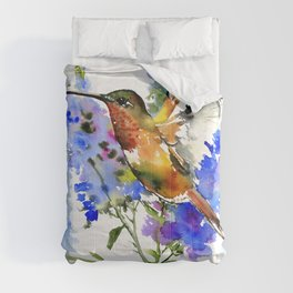 Alen's Hummingbird and Blue Flowers, floral bird design birds, watercolor floral bird art Comforters