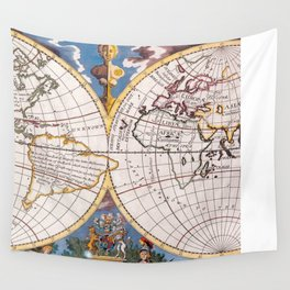 Vintage Map of The World (1700) Wall Tapestry