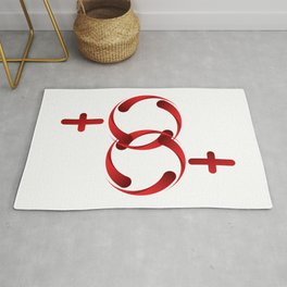 A sign for the toilet, both female Rug