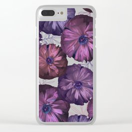 Pink and violet poppies Clear iPhone Case