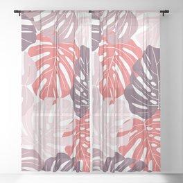 Red monstera deliciosa Sheer Curtain