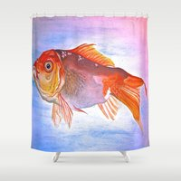 goldfish Shower Curtains featuring Goldfish by Jaime Viens