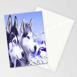 2 Siberian Huskies Stationery Cards