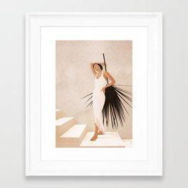 Minimal Woman with a Palm Leaf Framed Art Print