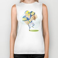 football Biker Tanks featuring Football by Dues Creatius