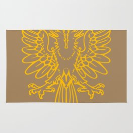 yellow double-headed eagle on brown background Rug