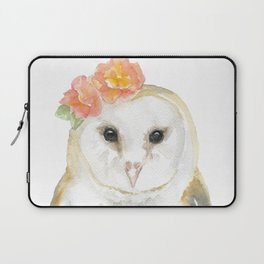 Barn Owl Floral Watercolor Laptop Sleeve