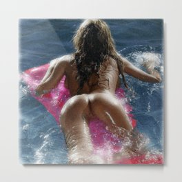 Girl on a pad in the swimming pool Metal Print