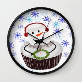 Marshmallow Cupcake Holiday Snowflakes Wall Clock