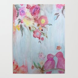 Lovebirds in a Flower Garden Poster