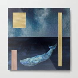 Blue Whale - Gold, Copper And Deep Blue Metal Print