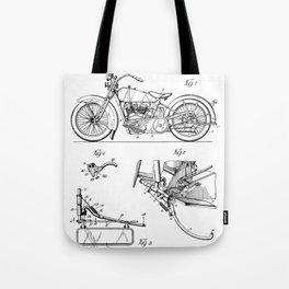 Harley Motorbike Patent - Harley Bike Art - Black And White Tote Bag