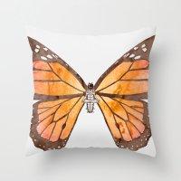 nirvana Throw Pillows featuring Caterpillar's nirvana by Benjamin Castle