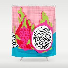 Hard Core - memphis throwback retro neon tropical fruit dragonfruit exotic 1980s 80s style pop art Shower Curtain