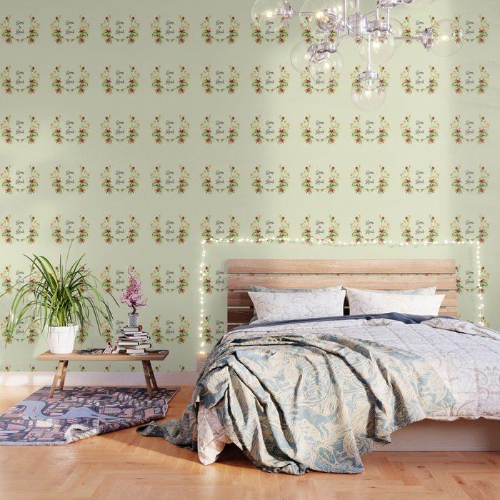 Born to Read Floral Wallpaper