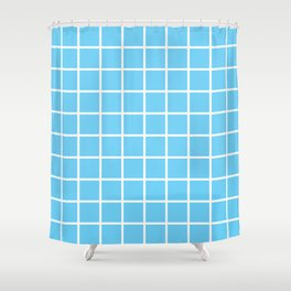 Light Blue Grid Pattern 2 Shower Curtain