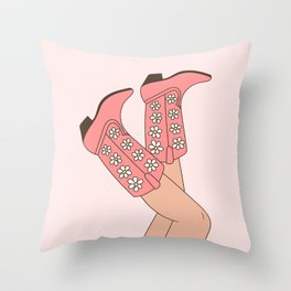 Girl in Pink Floral Cowboy Boots, Western Cowgirl with Legs in the Air in Pastel Blush Colors Throw Pillow