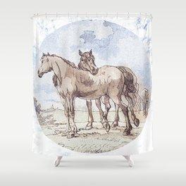 Companions - horse love Shower Curtain