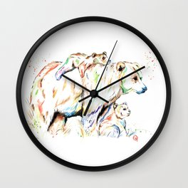Bear Family - and then there were 3 Wall Clock