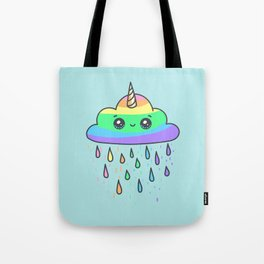 Rainbow cloud unicorn blue Tote Bag