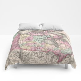 Vintage Map of Canada (1857) Comforters