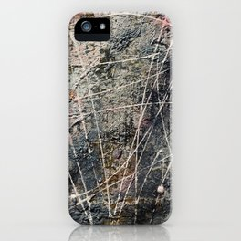 Case of the Mondays - mixed media on cardboard iPhone Case