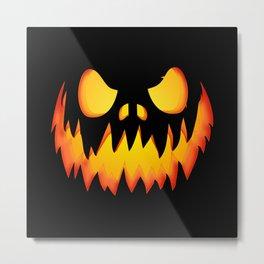 Evil pumpkin face Metal Print