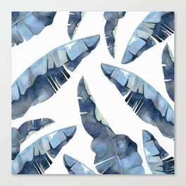 Banana Leaves 2 Blue Canvas Print
