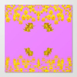 DECORATIVE MODERN PINK-DAFFODILS ART FLORAL Canvas Print