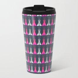 Pink Grey Native American Tipi Travel Mug
