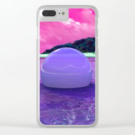 Cyber Pink Ocean Clear iPhone Case